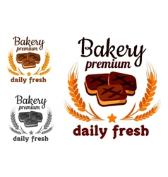 Bakery emblem with fresh cookie vector image