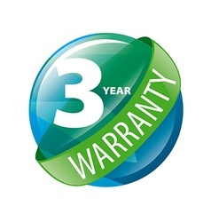 Logo in the shape of a circle 3 year warranty vector