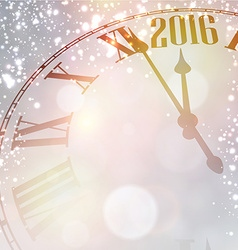New 2016 year clock with snowy background vector