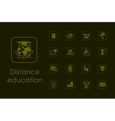 Set of distance learning simple icons vector