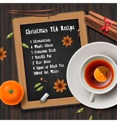 Christmas tea with spices aromas mulled wine vector