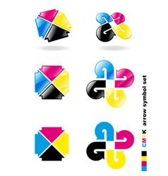 Cmyk arrow symbol set vector