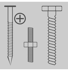 Monochrome icon set with nuts and bolts vector