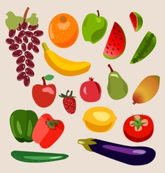 Fruits and vegetables heathy food vector