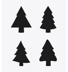 Pine trees icon set merry christmas design vector