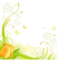 Floral summer background with yellow tulip flower vector