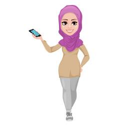 Arabic business woman smiling cartoon character vector
