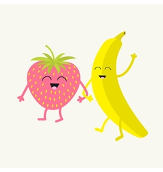 Banana and strawberry happy fruit set smiling face vector