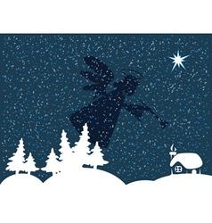 Christmas night snow vector