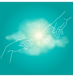 Close up of human hands touching with fingers vector