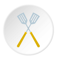 Crossed metal spatulas icon circle vector