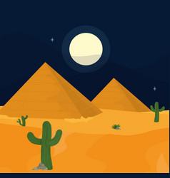 Desert at night vector