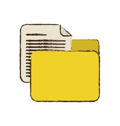 Drawing yellow folder file document report paper vector