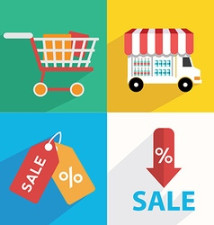 E-commerce business concept set icons vector