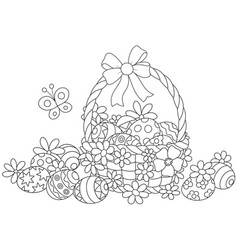 Easter wicker basket vector