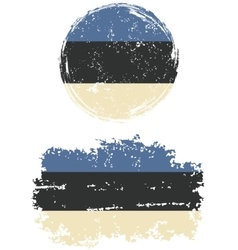 Estonian round and square grunge flags vector