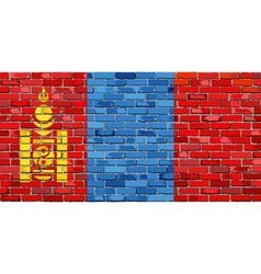 Flag of Mongolia on a brick wall vector image vector image