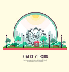 Flat style modern design of public park landscape vector