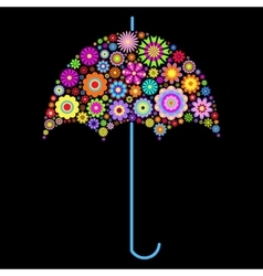floral umbrella on black background vector image vector image