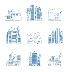 Hand drawn skyscrapers and industrial buildings vector image vector image