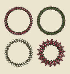 Handdrawn wreaths round botanical ornament vector