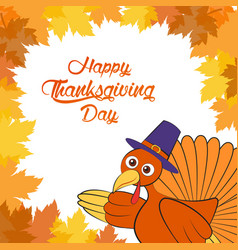 happy thanksgiving day cartoon character vector image