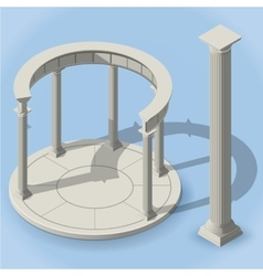isometric ancient rotunda monopteros vector image