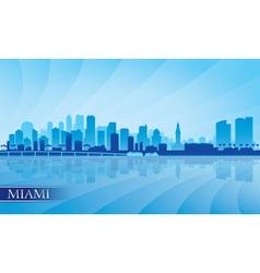 Miami city skyline silhouette background vector
