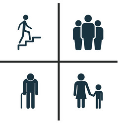 People icons set collection of ladder family vector
