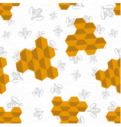 Seamless bee pattern vector