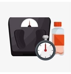 Set weight scale chronometer bottle protein vector