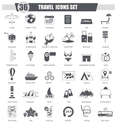 Travel black icon set Dark grey classic vector image