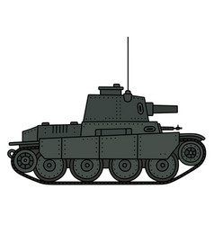 Vintage light tank vector