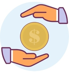 Icon two arms and coins vector