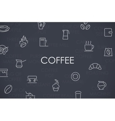 Coffee thin line icons vector