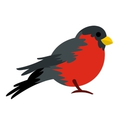 Bird with red plumage icon flat style vector