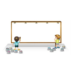 Kids painting white board vector image
