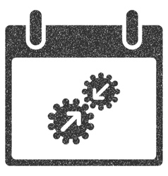 Gears integration calendar day grainy texture icon vector