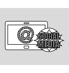 Hand drawing mail social media mobile vector
