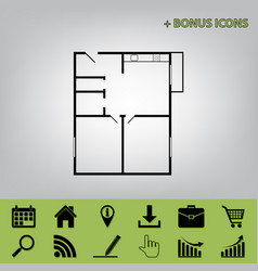 Apartment house floor plans  black icon at vector