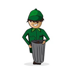 Profession garbage man cartoon figure vector image