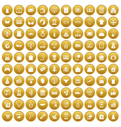 100 online shopping icons set gold vector image