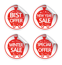 Set of new year holiday stickers sale vector
