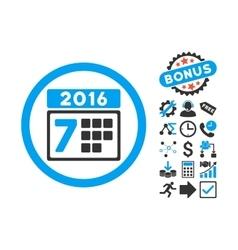 2016 Week Calendar Flat Icon with Bonus vector image