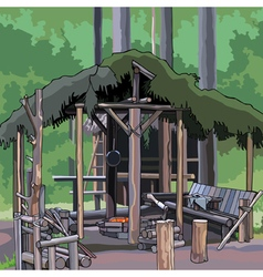 Wooden structure in the woods vector