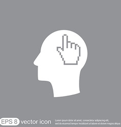 Icon head think silhoutte man and his mind about m vector