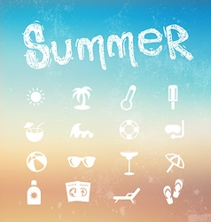 Summer icon set on a blurred background beach vector