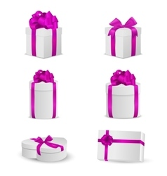 Set of white gift boxes with pink bows and ribbons vector