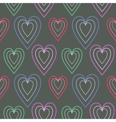 Dark symmetrical background with hearts vector