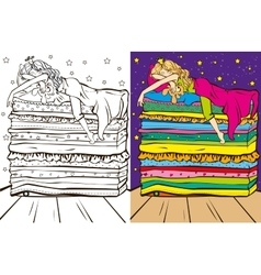 Colouring book of sleeping beauty vector